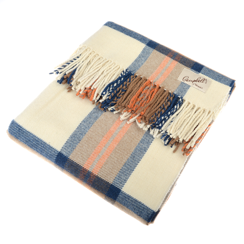 Blanket, Blue/Orange/Cream