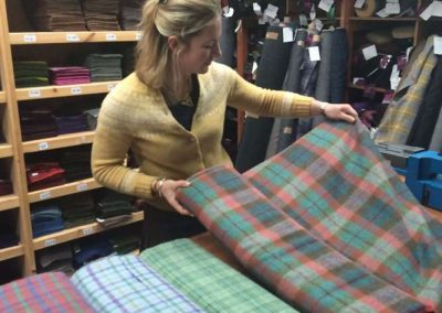 Nicola Sugden selecting Harris Tweed for Campbells of Beauly