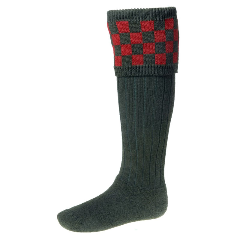 Bowmore Shooting Sock, Dark Loden/Brick Red