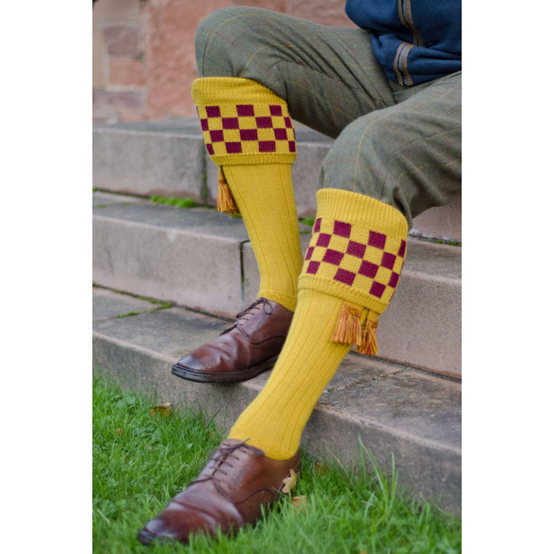 Bowmore Shooting Socks, New Mustard Claret