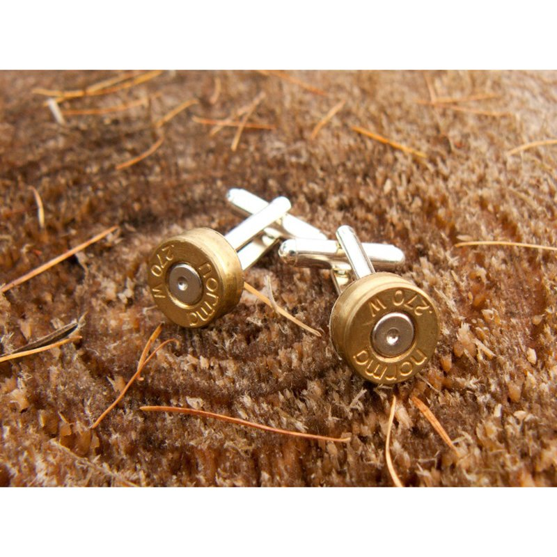 Bullet Cufflinks, Silver Plated