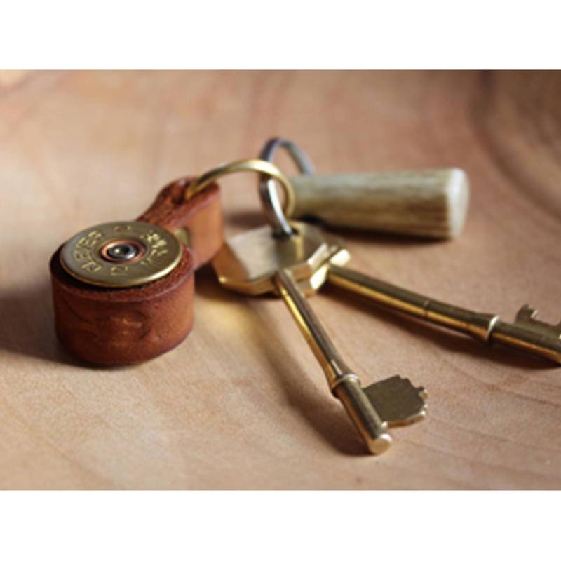 Cartridge Leather Keyring