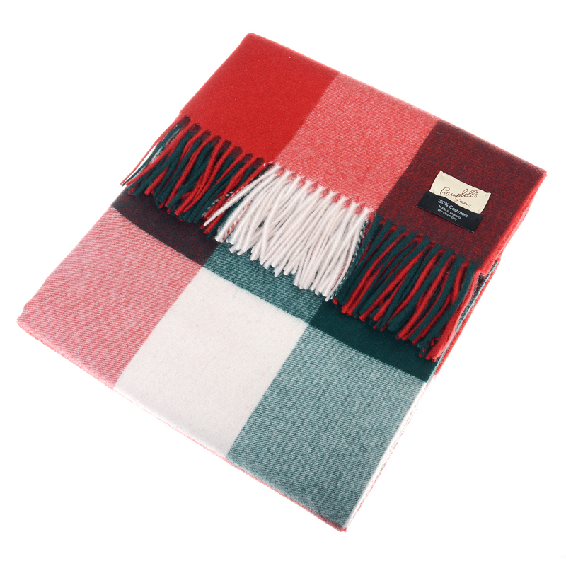 Cashmere Blanket, Red/Green