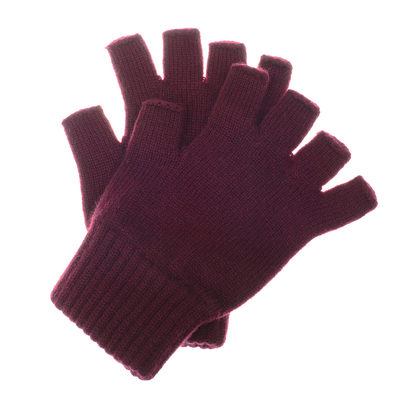 Cashmere Half Gloves, Wine