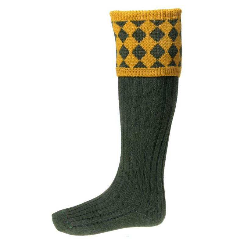 Chessboard Shooting Socks, Dark Loden New Mustard
