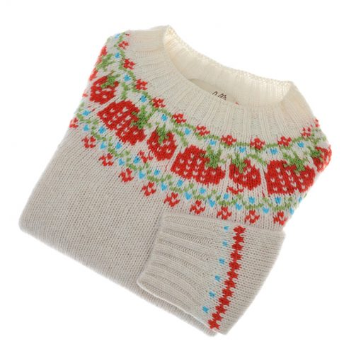 childrens shetland wool strawberry jumper swansdown