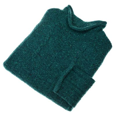 ladies donegal funnel neck jumper colour green