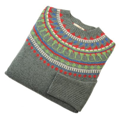 fairisle jumper in colour moss