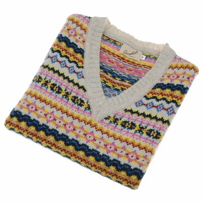 ladies fairisle slipover pink