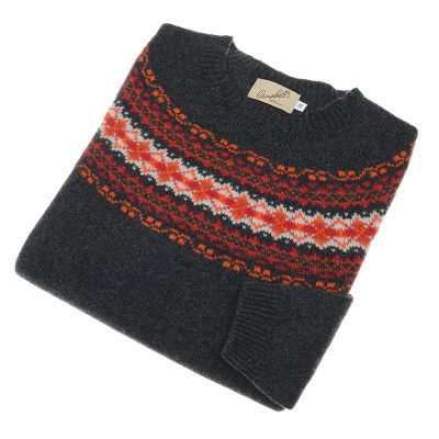 ladies fairisle crew jumper anthracite