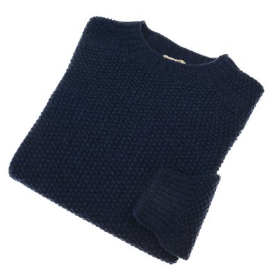 mens blue moss stitch jumper