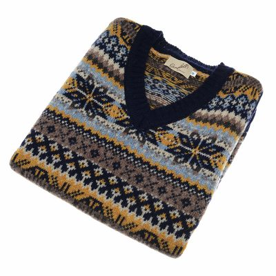 mens navy fairisle slipover