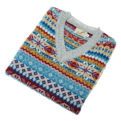 mens fairisle slipover silver