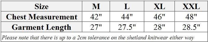 Shetland jumper size chart
