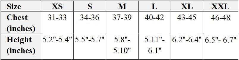 Fenland coat size chart