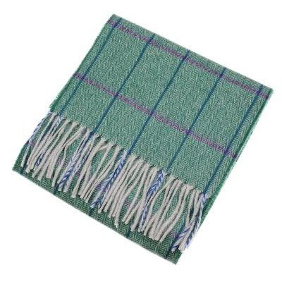 green herringbone cashmere scarf