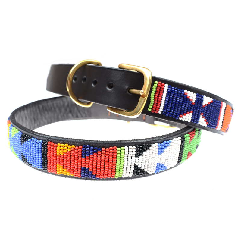 Hand Beaded African Dog Collars, Multicoloured