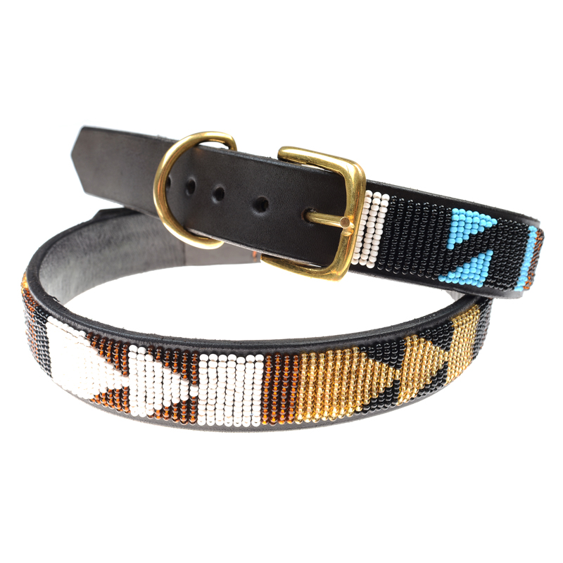 Hand Beaded African Dog Collars, Brown