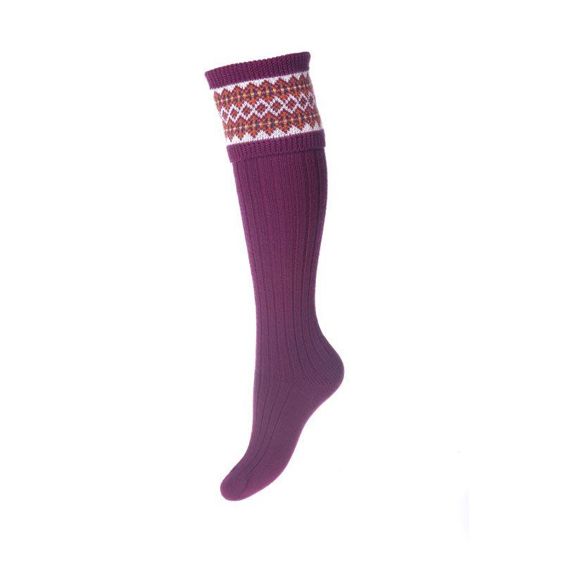 Lady Fairisle Socks, Bilberry