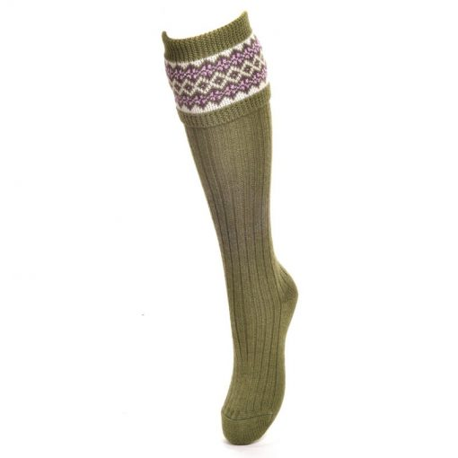 Lady Fairisle Socks, Moss