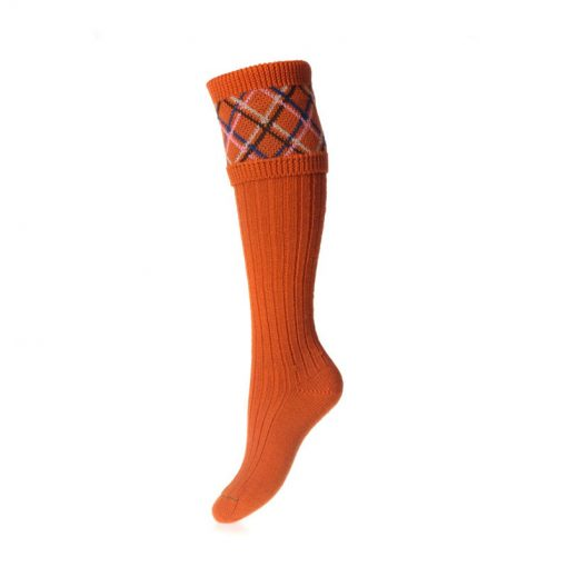 Lady Melrose Shooting Socks, Burnt Orange