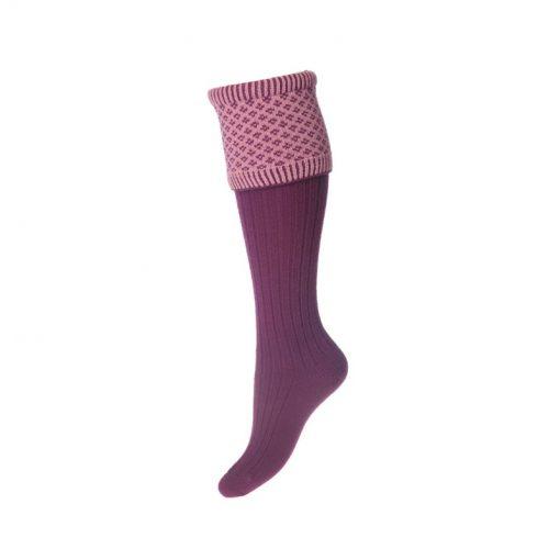 Lady Queensbury Socks, Bilberry Rose