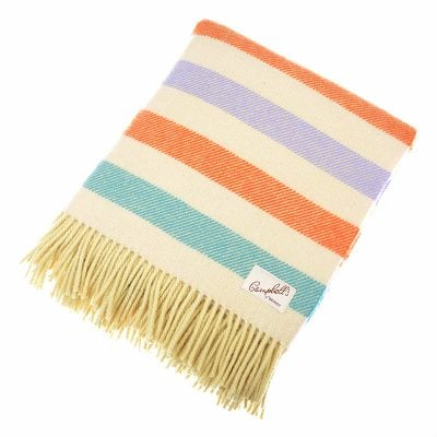 Lambswool Blanket, Morlich Orange Stripe