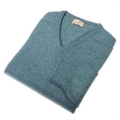 Lambswool V Neck Jumper, Caspian