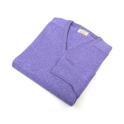 Lambswool V Neck Jumper, Heliotrope
