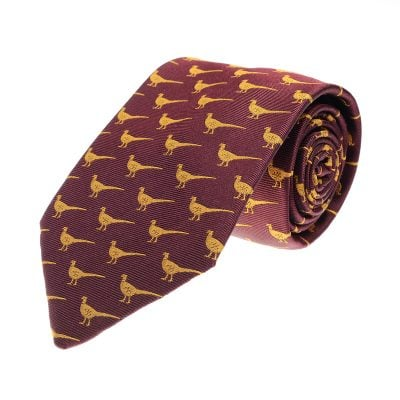 Pheasant Walking Tie, Burgundy