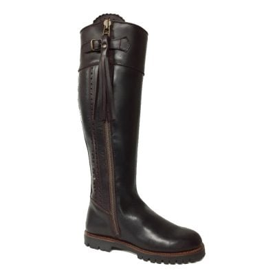 Rich Brown Leather Spanish Waterproof Shooting Boots