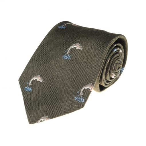Salmon Leaping Tie, Green