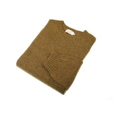 Shetland Wool Crew Neck Jumper, Dark Olive