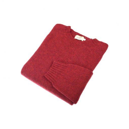 Shetland Wool Crew Neck Jumper, Red Hot