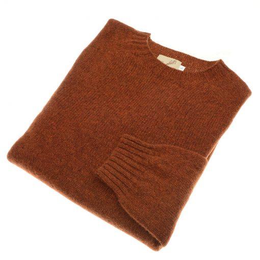 shetland wool jumper rust
