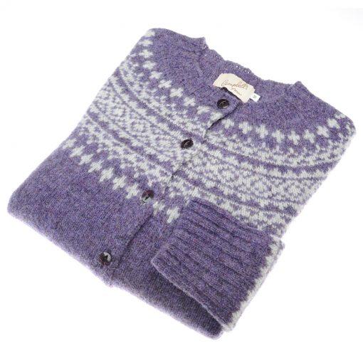 Shetland Wool Fairisle Cardigan, Ivanhoe/White