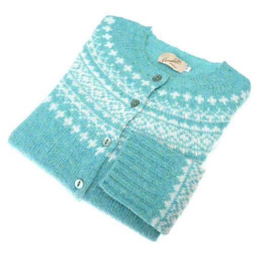 Shetland Wool Fairisle Cardigan, Gemstone/White
