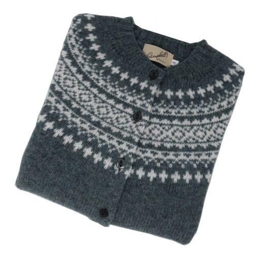 shetland wool cardigan graphite and white