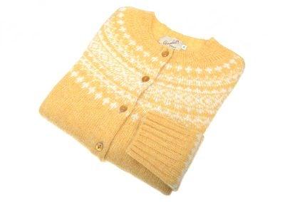 Shetland Wool Fairisle Cardigan, Marzipan/White