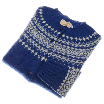 shetland wool fairisle cardigan oceanforce cream