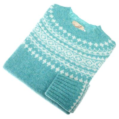 Shetland Wool Fairisle Jumper, Gemstone/White