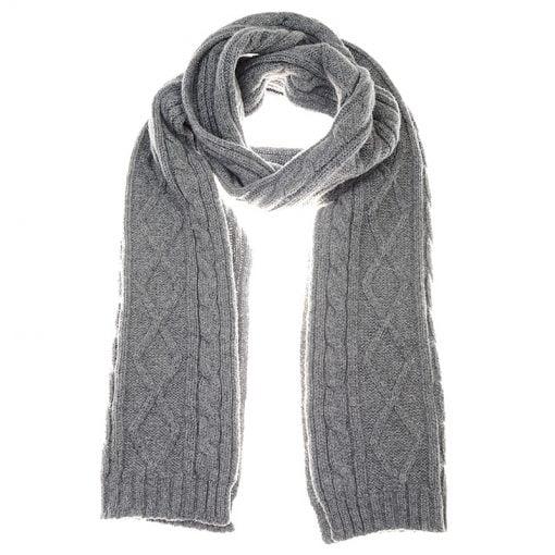 aran scarf grey mix