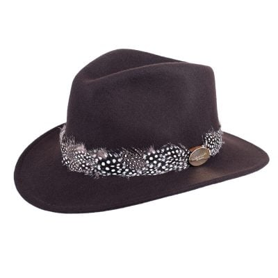 Brown fedora guinea feather