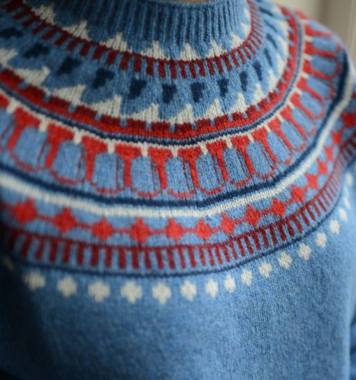 ladies fairisle crew neck jumper colour blue