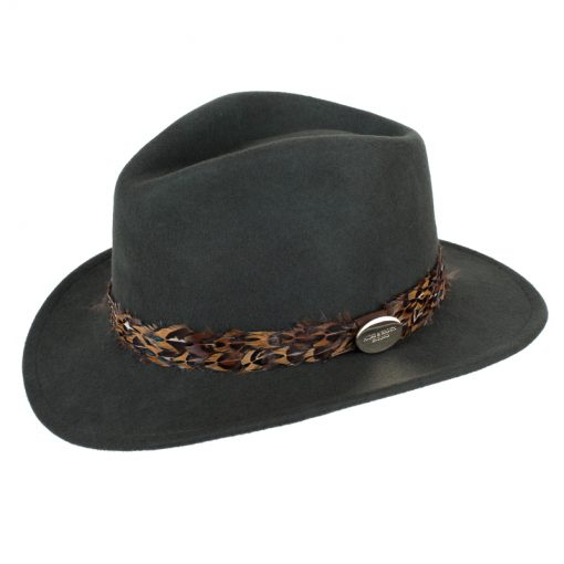 Green fedora pheasant feather