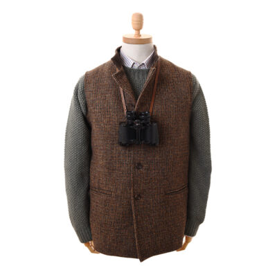 harris tweed nehru gilet