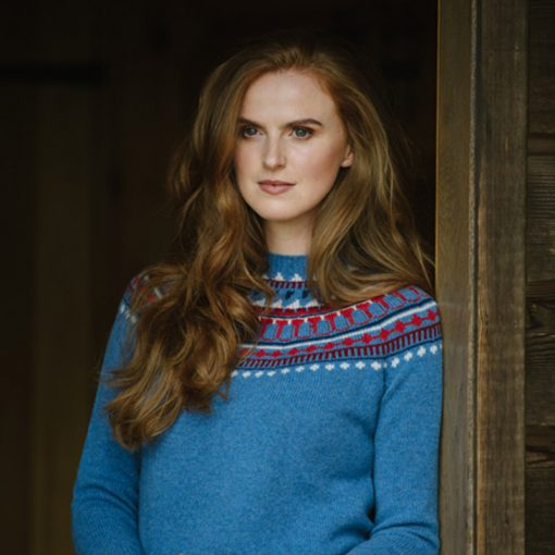 blue fairisle jumper on model