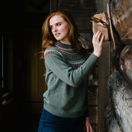 green fairisle jumper on model