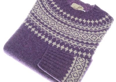 shetland wool fairisle jumper heather cream
