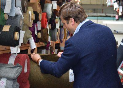 John browsing the Harris Tweeds